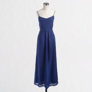 J.CREW Textured Navy Swiss Dot Maxi Dress
